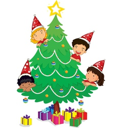 kids at christmas vector image