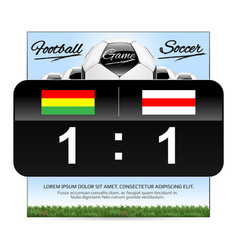 Soccer or football ball with scoreboard and flags vector