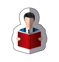sticker colorful man reading book icon vector image