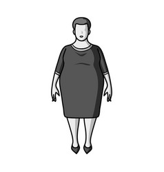fat woman in a red dressa fat woman because of vector image