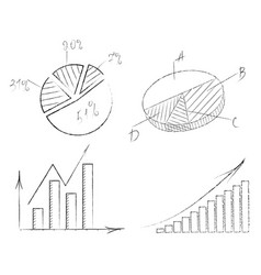 set of graphs with arrows vector image