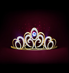 golden realistic diadem composition vector image