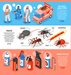 Pest control isometric horizontal banners vector