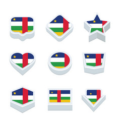 Central african republic flags icons and button vector