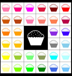 cupcake sign  felt-pen 33 colorful icons vector image