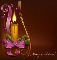 Christmas candle with beads on a brown background vector