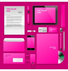Pink corporate id mockup vector