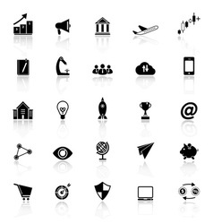 Startup business icons with reflect on white vector