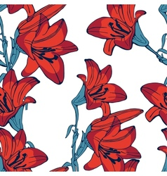 Elegant lilly flowers pattern vector