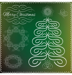 Set of vintage Cristmas calligraphic and vector image