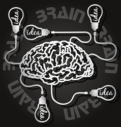 Paper cut of brain and light bulbs vector