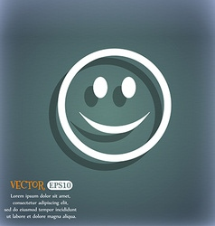 Smile happy face icon symbol on the blue-green vector