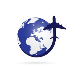 airplane with blue globe symbol vector image
