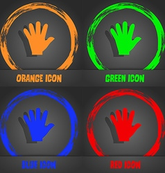 Hand icon fashionable modern style in the orange vector