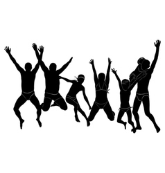 Group people jumping holiday sea silhouette vector
