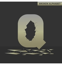 Letter q broken mirror vector