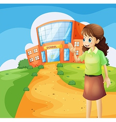 A teacher in front of the school building vector image vector image