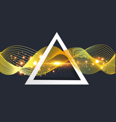 abstract gold wave in triangle vector image vector image