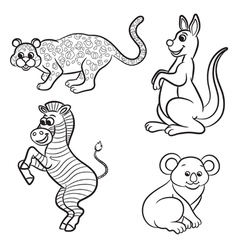 animals set zebra leopard koala kangaroo black and vector image
