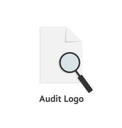Audit logotype with sheet of paper and magnifying vector