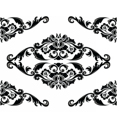 Baroque Floral Damask pattern vector image