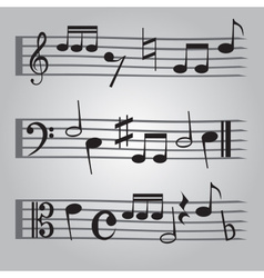 Black music sheet note icons set eps10 vector