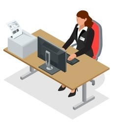 Business woman looking at the laptop screen vector image vector image