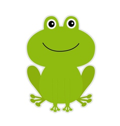 Cute green cartoon frog vector