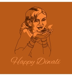 Cute indian girl with diwali light vector image