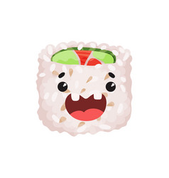 Cute roll character sushi with funny face cartoon vector