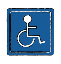 Drawing disabled person wheelchair sign road vector