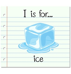 Flashcard letter i is for ice vector