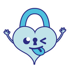 Full color funny heart padlock kawaii personage vector