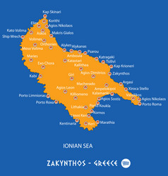 Island of zakynthos in greece orange map and blue vector