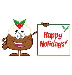 Jolly christmas pudding character vector