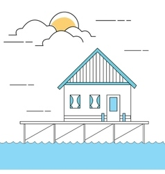 Line style of house or home above sea vector