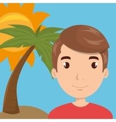 man sun palm travel vector image