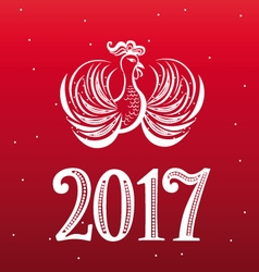 New year cock lacy design vector