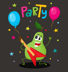 Party flayer template with funny guitar character vector