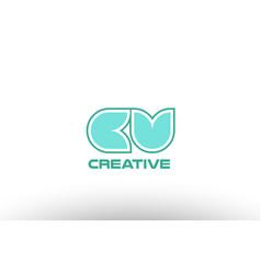 Pastel green alphabet letter cv c v combination vector