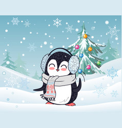 penguin in scarf and headphones winter landscape vector image