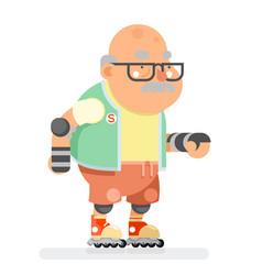 roller skate adult sports healthy grandfather vector image vector image