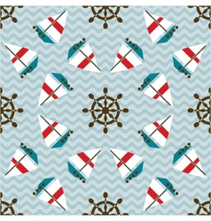 Seamless sea pattern with boats and hand wheels vector