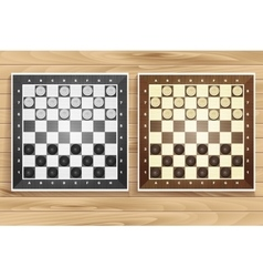 set of chess boards on wooden background vector image