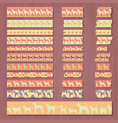 Set of cute decorative tapes of doggish style vector