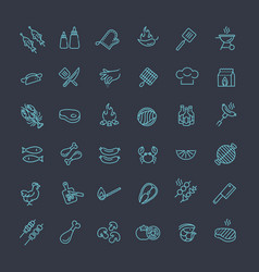 Simple set of barbecue related line icons vector