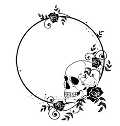 skull and roses frame vector image