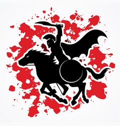 Spartan warrior riding horse with sword and shield vector