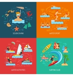 Water sport 2x2 design concept vector