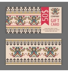 gift card template with a national ornament vector image